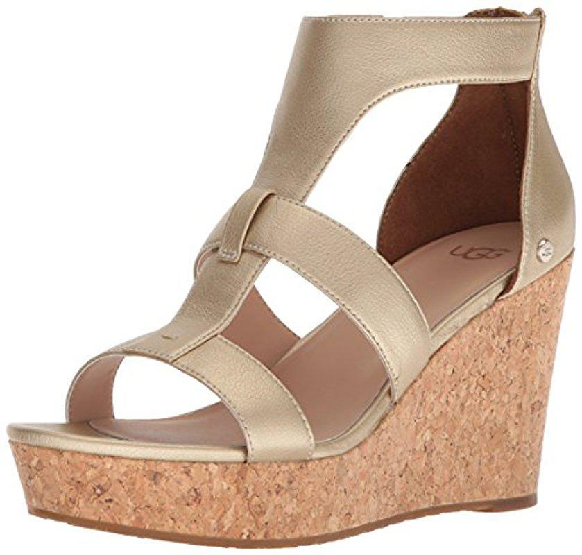 UGG® Whitney Metallic Wedge Sandals fYsvrdCM