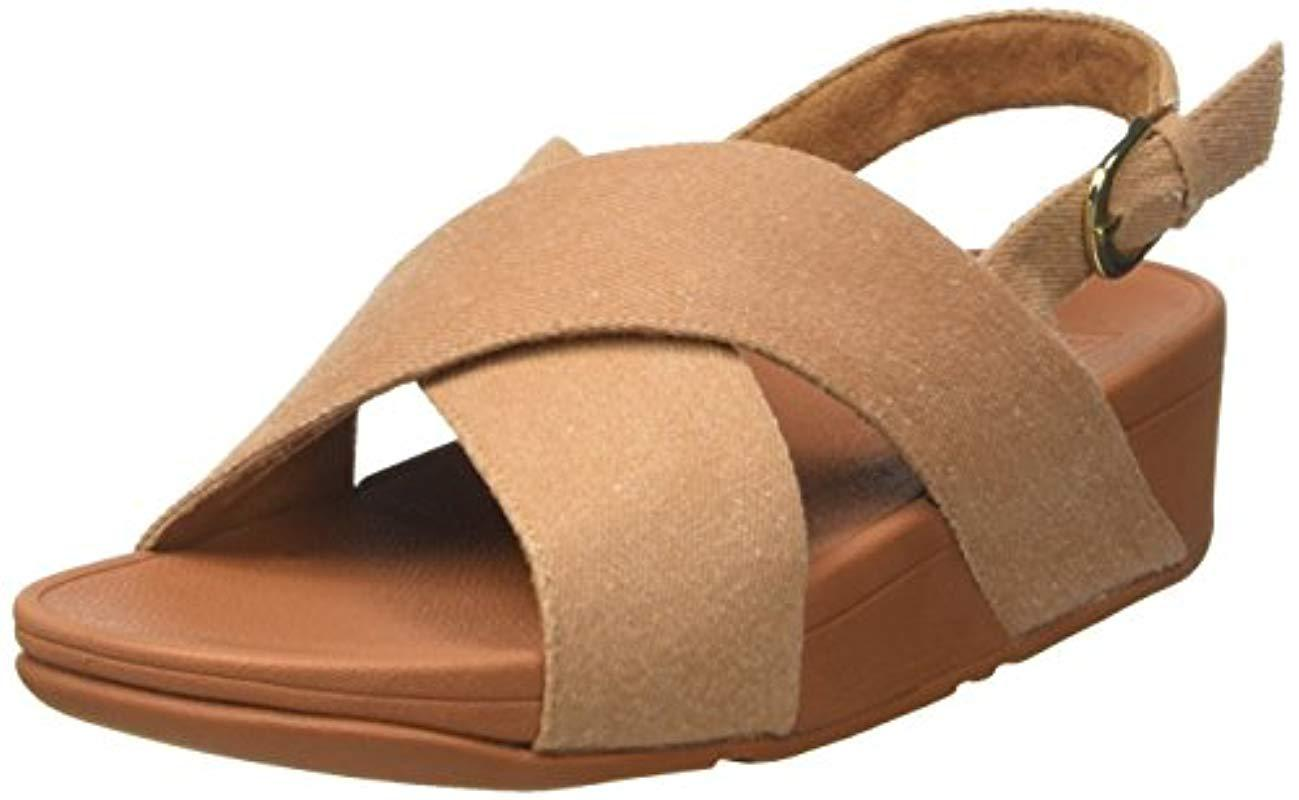 8524f50f3363 Fitflop Lulu Cross Back-strap Sandals Shimmer Open Toe in Natural ...