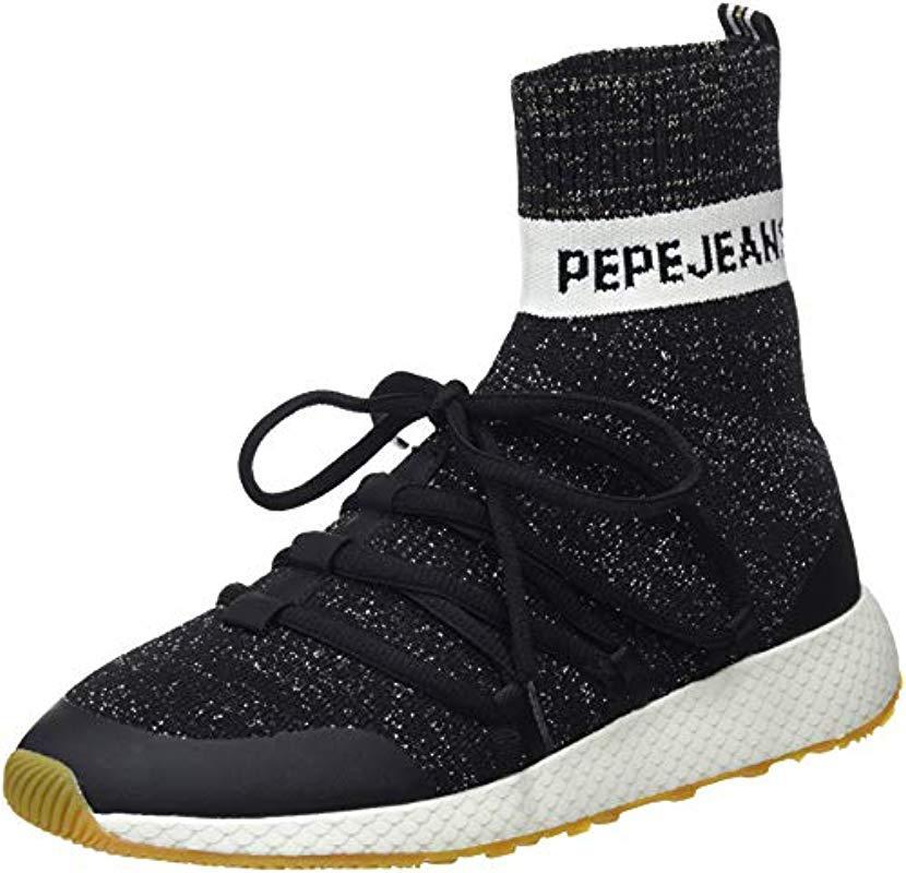 Lyst Baskets Coloris En Koko Sock Jeans Hautes Pepe Femme Noir ZPp1Zq