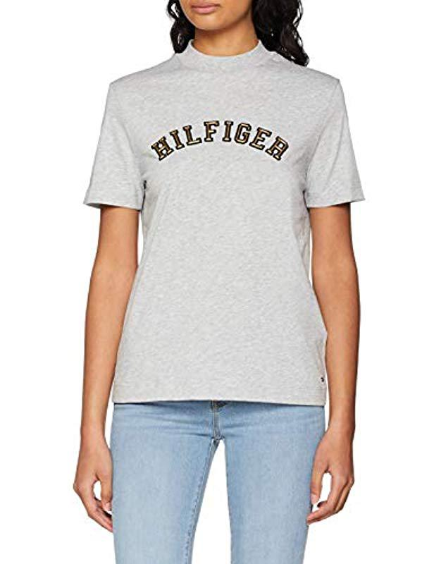 9484ab8b Tommy Hilfiger Mimi High Nk Tee Ss T-shirt in Gray - Lyst