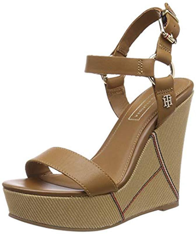 4e648d191cbe Tommy Hilfiger. Women s Brown  s Elevated Leather Wedge Sandal Platform
