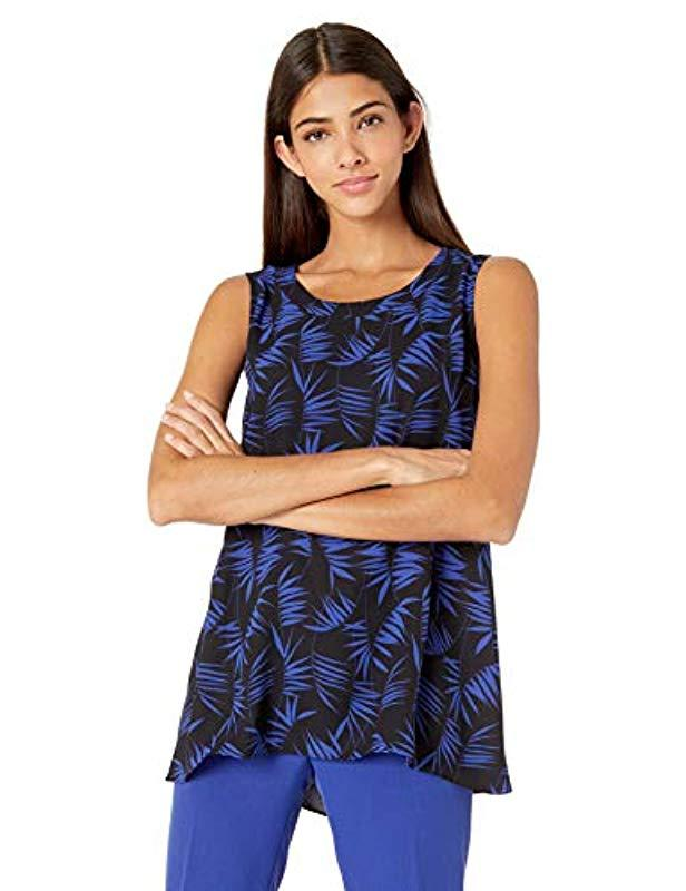 ce2b7114c66be Lyst - Anne Klein Delphine Sleeveless Top in Blue - Save 51%