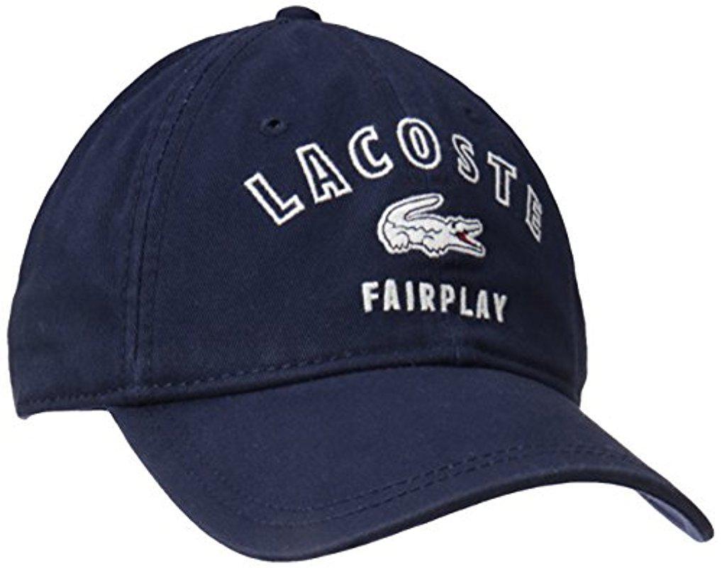 Lyst - Lacoste Gabrdine Fairplay Cap in Blue for Men 255ea10c8165