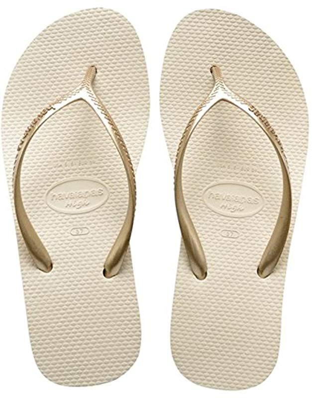 e1f28dd005714d Havaianas Slim Crystal Flip Flops Sand Gray in Natural - Save 50.0 ...
