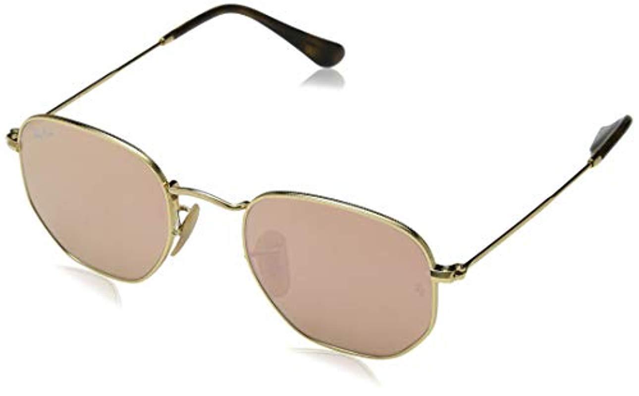 27016aebcbc Ray-Ban. Men s Metallic Hexagonal Flat Lens Sunglasses In Gold Copper Flash  Rb3548n 001 z2 48