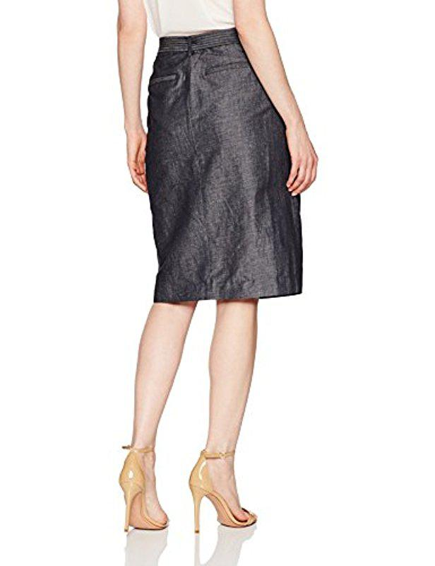 bf7d388b7f Lyst - Ellen Tracy Petite Size Faux Wrap Belted Skirt - Save 51%