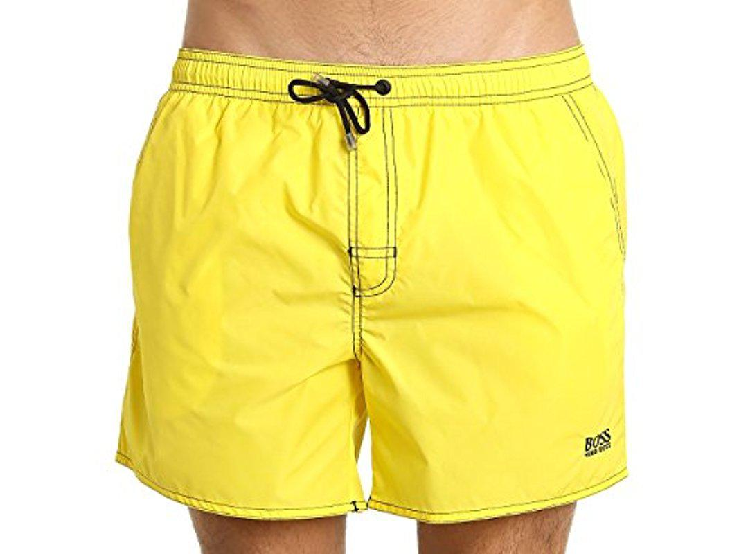 64790de5e6dc8 Lyst - BOSS Lobster 5 Inch Solid Swim Trunk in Yellow for Men