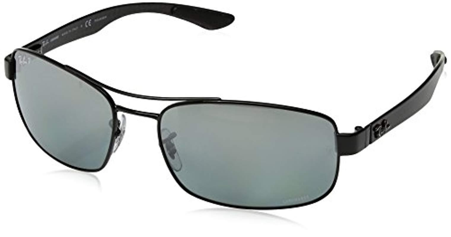 4521918a93 Ray-Ban. Men s Chromance Metal Rectangle Sunglasses In Shiny Black Gradient  Blue Grey Mirror Polarised Rb8318ch 002 5l 62