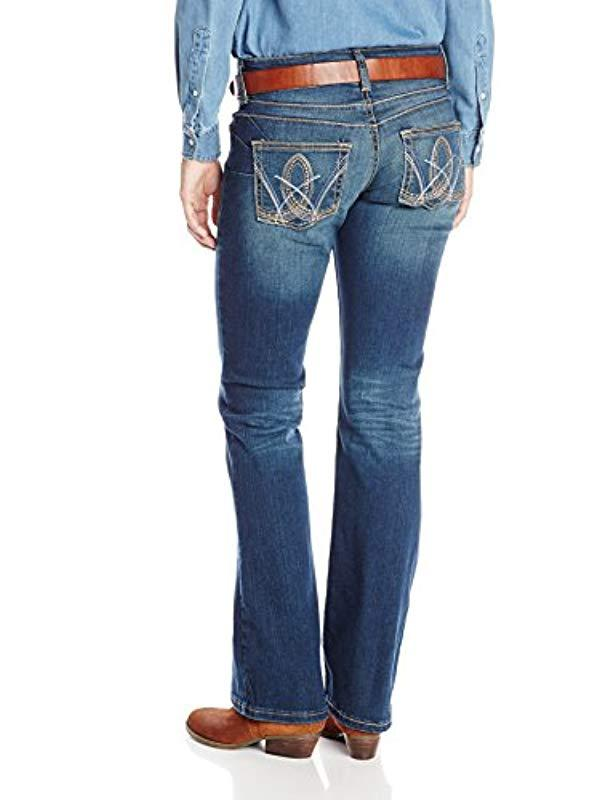 7ad0b10f Lyst - Wrangler Premium Patch Booty Up Technology Sits Above Hip Jeans in  Blue - Save 32%