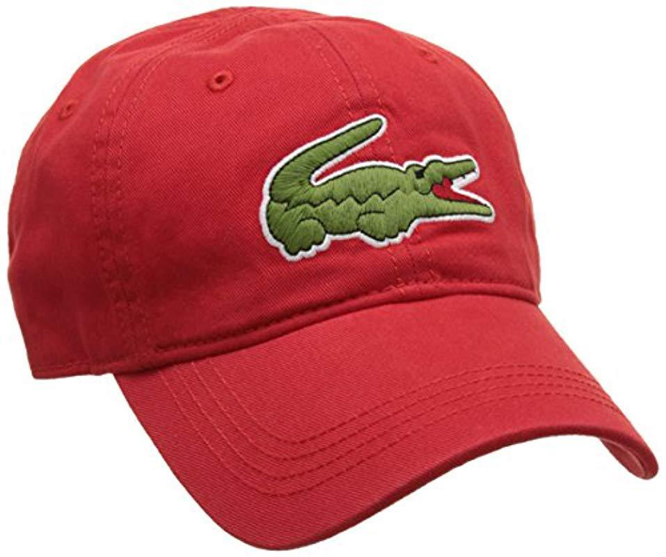c1cb467c1d6 Lacoste Big Croc Gabardine Cap (flamingo) Baseball Caps in Red for ...