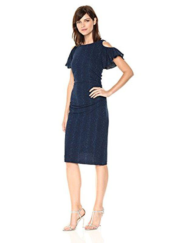 Lyst - Adrianna Papell Draped Sleeve Glitter Knit in Blue