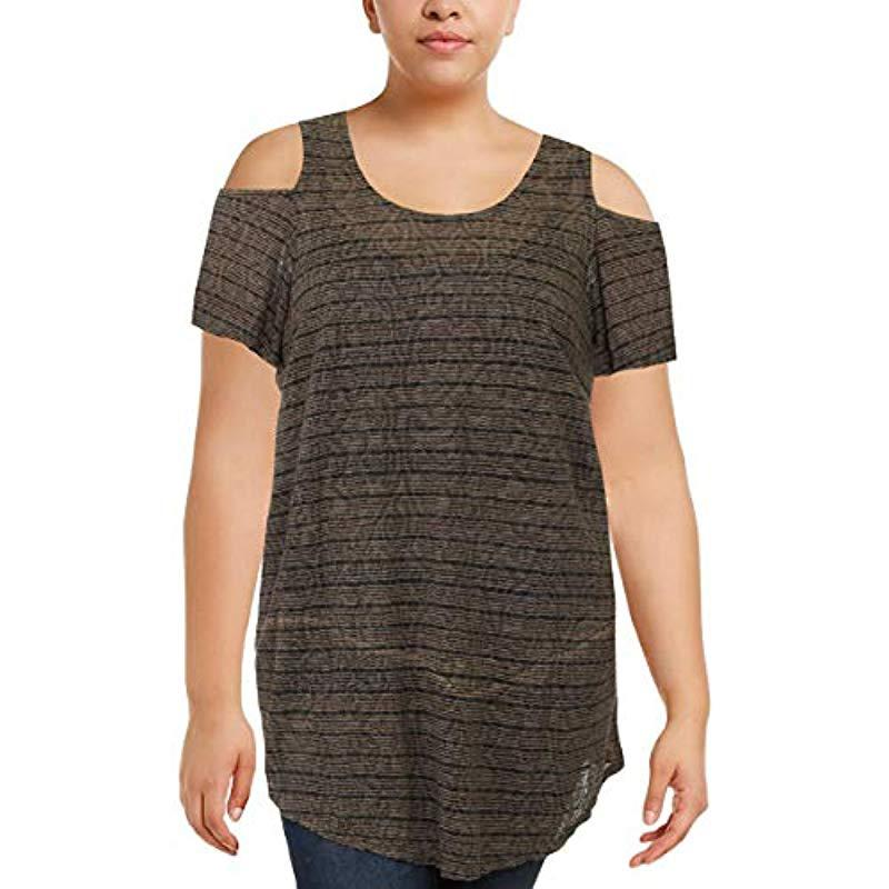 3bfe2db3004 Lyst - Lucky Brand Plus Size Stripe Cold Shoulder Top in Gray - Save 84%