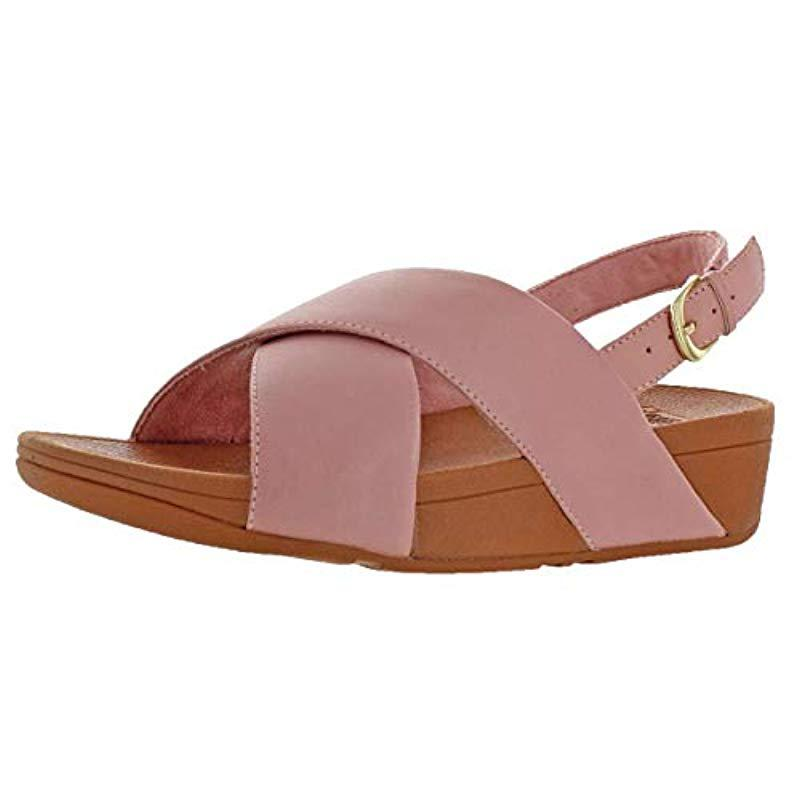 fa7e095ede25e Lyst - Fitflop Lulu Cross Back-strap Sandals-shimmer-print in Pink