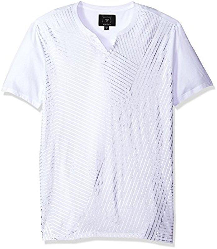 0af94adee Guess Artisan Slit Neck Foil T-shirt in White for Men - Lyst