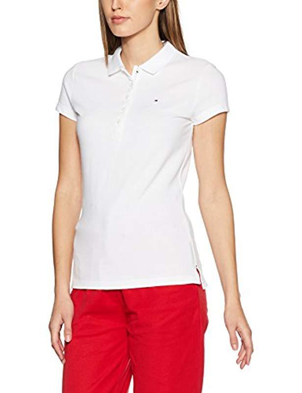 Tommy Hilfiger New Chiara Str Pq Polo Ss Shirt in White - Lyst 9a20b51ec3