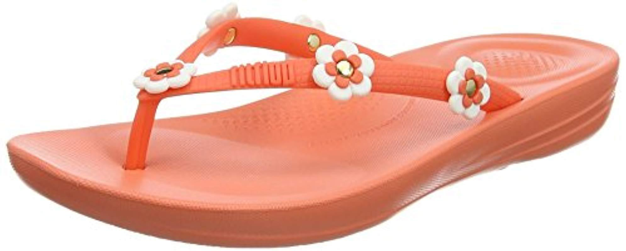 e49759e9a99214 Fitflop   s Iqushion Ergonomic Flip Flop Flower-stud in Orange - Lyst