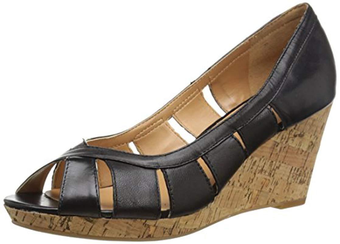 29faf399fed7 Lyst - Nine West Jumbalia Leather Wedge Sandal in Black