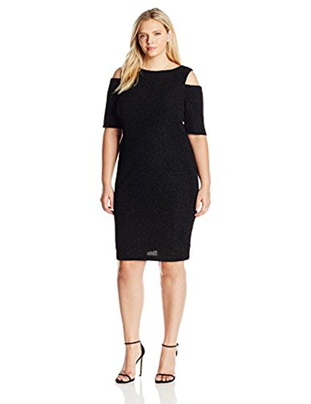 Lyst Eliza J Plus Size Glitter Dress With Cold Shoulders In Black