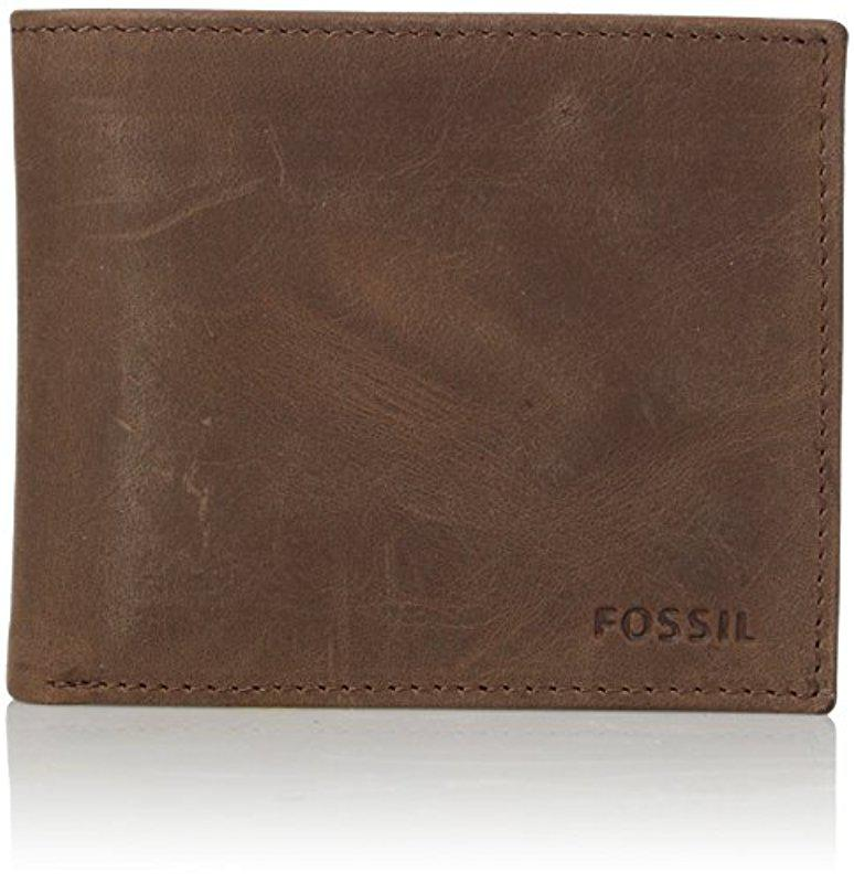 FOSSIL Hunter Large Coin Pocket Bifold DK Brown Xt3pgEVP5u