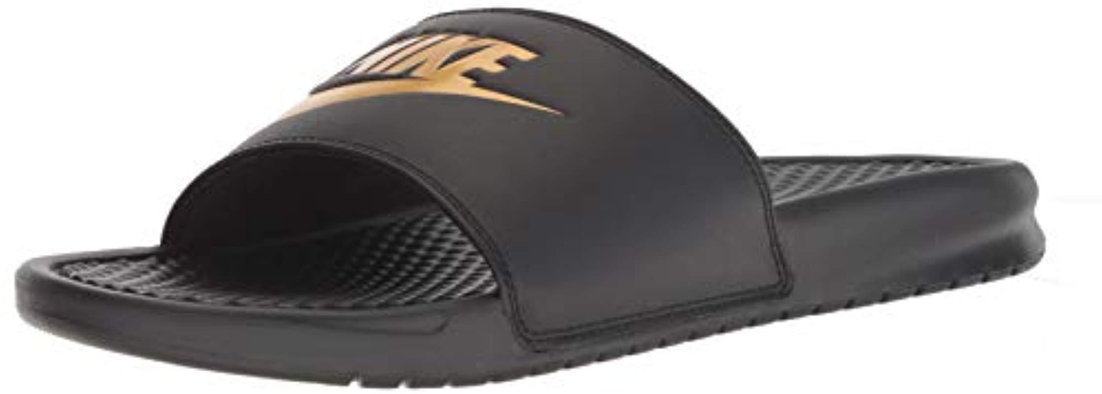 49a72a2fab9a Nike  s Benassi Blue Flip Flops in Black for Men - Lyst