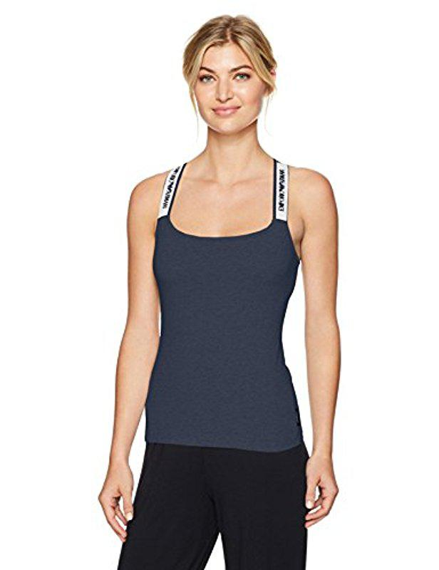 4806268c1c3b9 Lyst - Emporio Armani Iconic Logoband Tank Top With Logo Straps in Blue