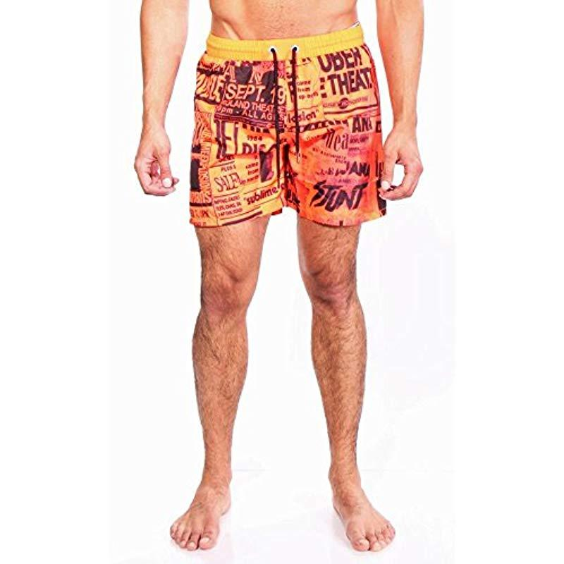 bd8033a264 Lyst - DIESEL Wave Poster Printed 16 Inch Swim Trunk in Orange for ...