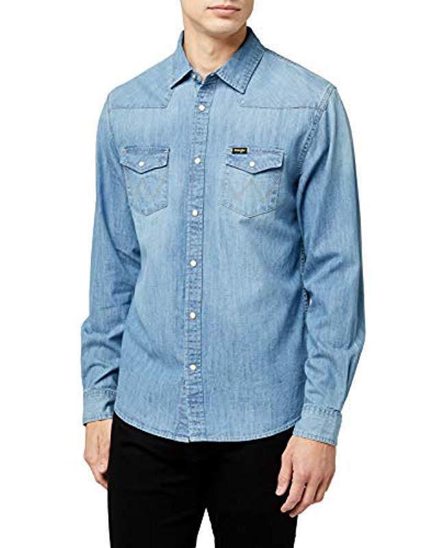 5d44e631c0d Wrangler Western Denim Shirt Grey in Blue for Men - Lyst