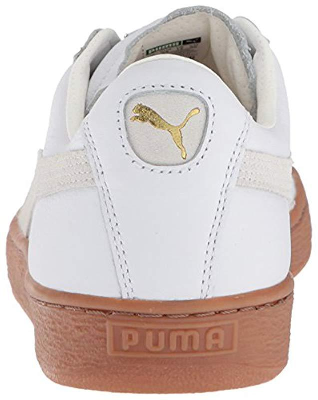 7ce249e91807ef Lyst - PUMA Basket Classic Gum Deluxe Sneaker in White for Men - Save 33%