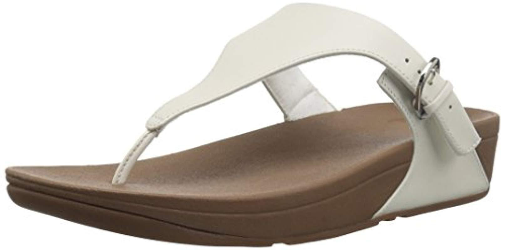 0be53b441 Fitflop Skinny Toe Thong Leather Heels Sandals in White - Lyst
