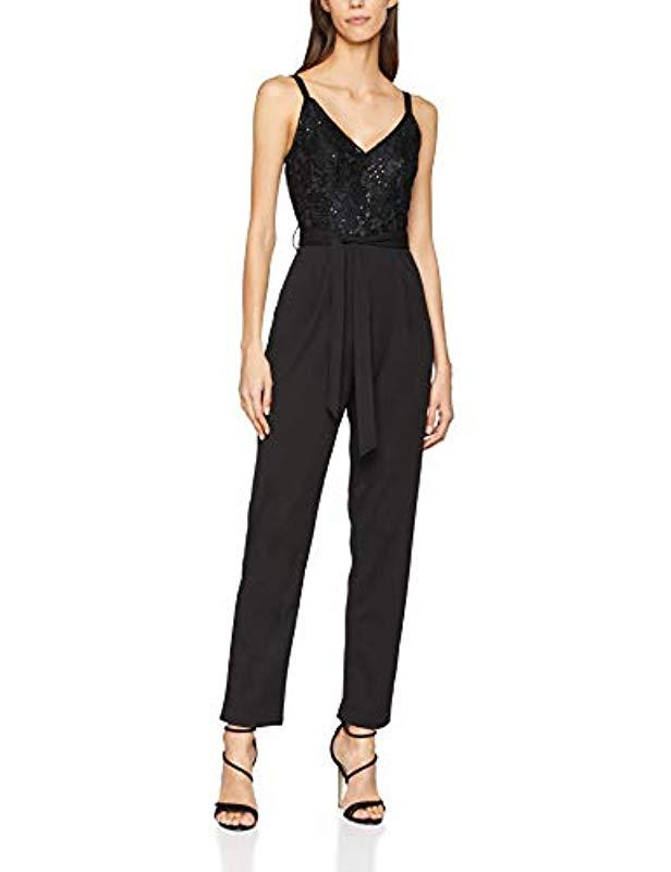3203487025c Dorothy Perkins  s Glitter Strap Jumpsuit in Black - Lyst