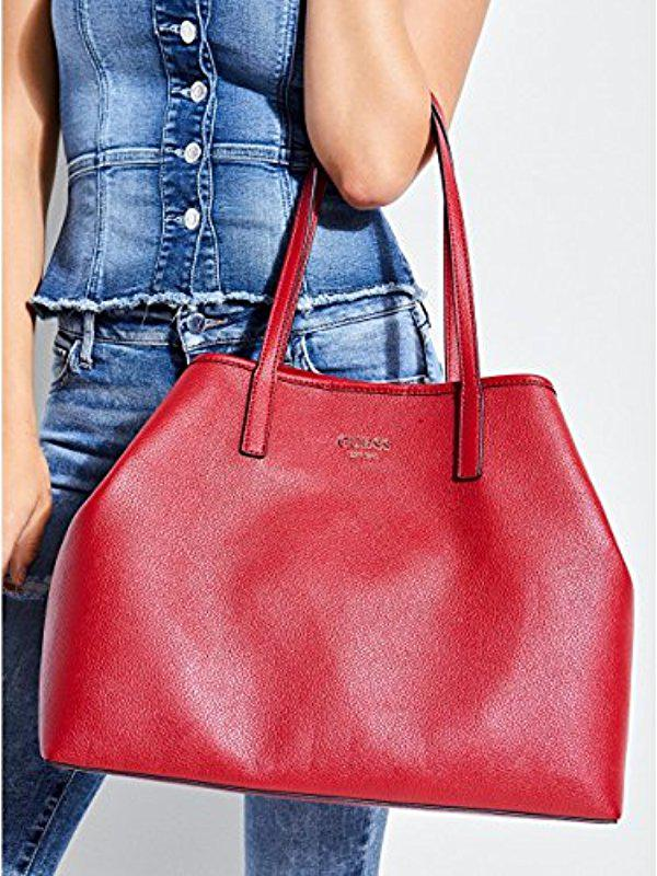 ce573672ce57 Lyst - Guess Vikky Classic Logo Large Tote in Red