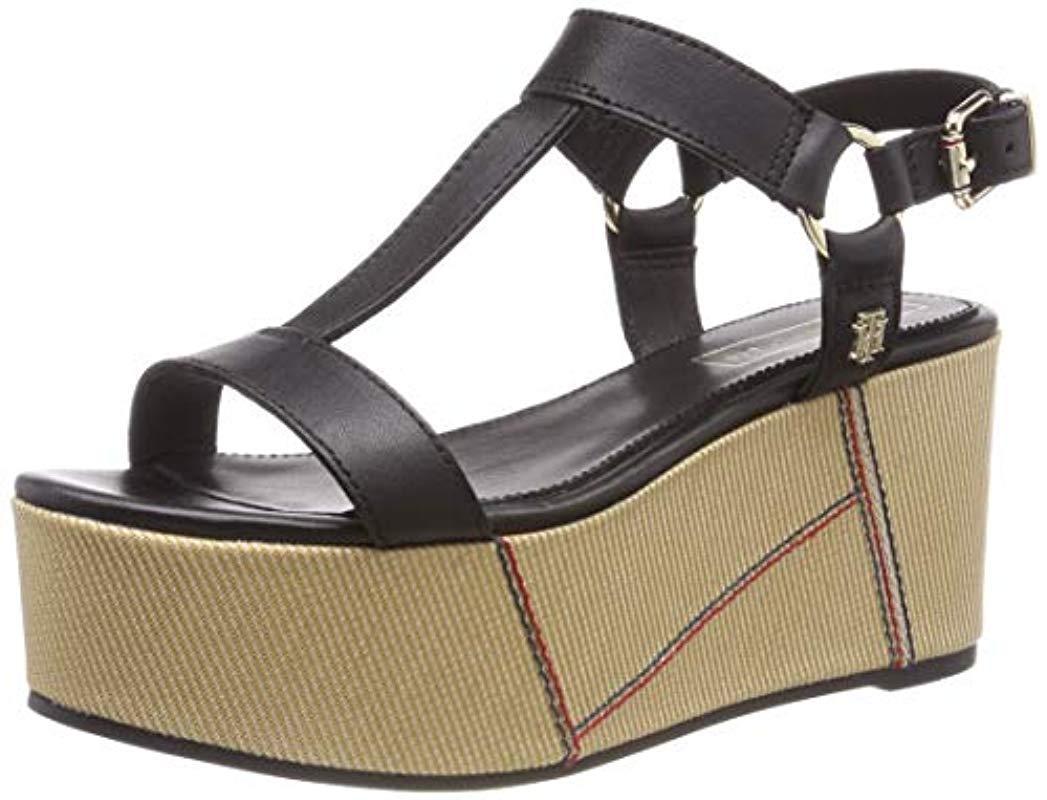 f4aa5045d Tommy Hilfiger. Women s Black  s Elevated Leather Flatform Sandal Platform