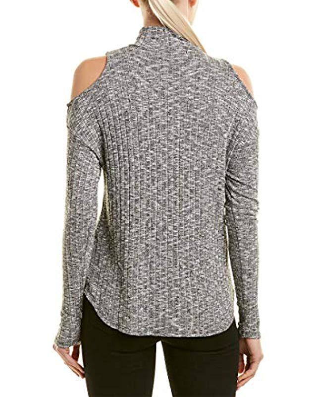 8200445ff4fec2 Lyst - Michael Stars Jasper Poorboy Turtleneck Cold Shoulder Top in Gray -  Save 32%