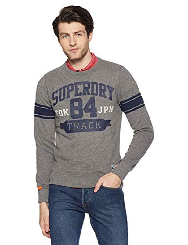 26a5bd110e9f18 Superdry Track   Field Crew Jumper in Gray for Men - Lyst