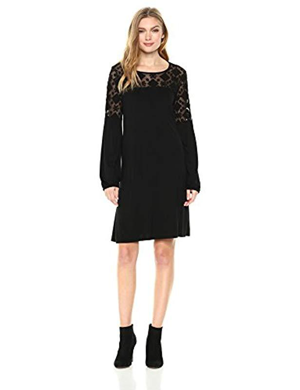 4ca49977ddd Three Dots. Women s Black Refined Jersey Embroidered Loose Long Dress