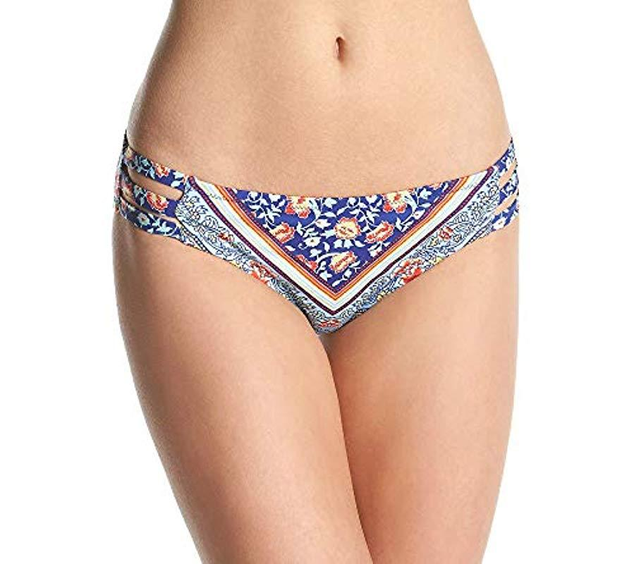 f8df0530f2 Jessica Simpson. Women's Blue Vine About It Side Strap Hipster Bikini Bottom
