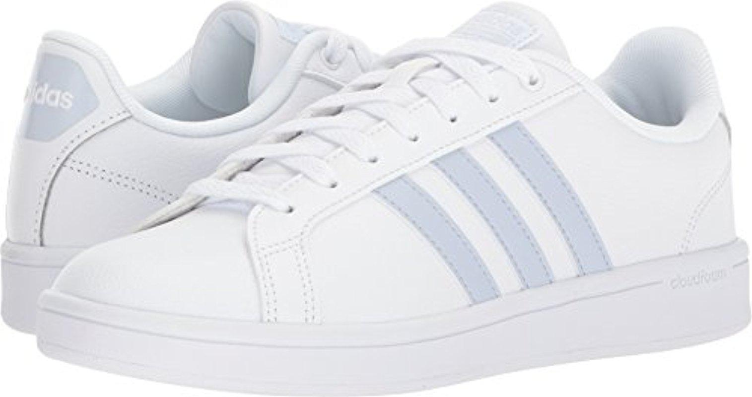 lyst adidas cloudfoam vantaggio striscia bianco / bianco / aero blue 10 b
