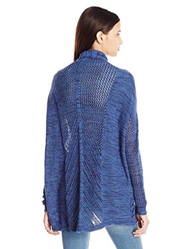 6d38ba74474 Lyst - Roxy Juniors Take Stock Cardigan Sweater in Blue