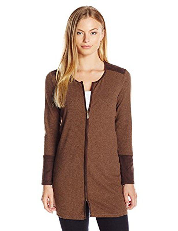 Lyst Rafaella Petite Long Knit Cardigan Sweater In Brown