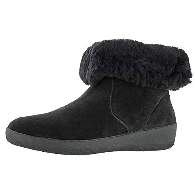 58bea2117 Lyst - Fitflop Skatebootie Suede Boots With Shearling Ankle in Black