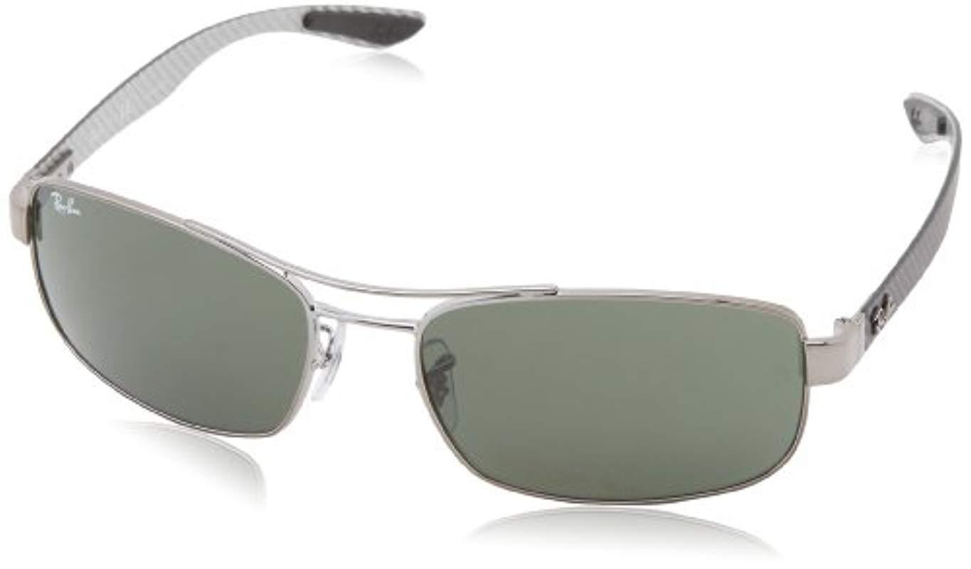 c887d37d73 Ray-Ban. Men s Tech Carbon Fibre Rectangle Sunglasses In Black Crystal Green  Polarised Rb8316 002 n5 62