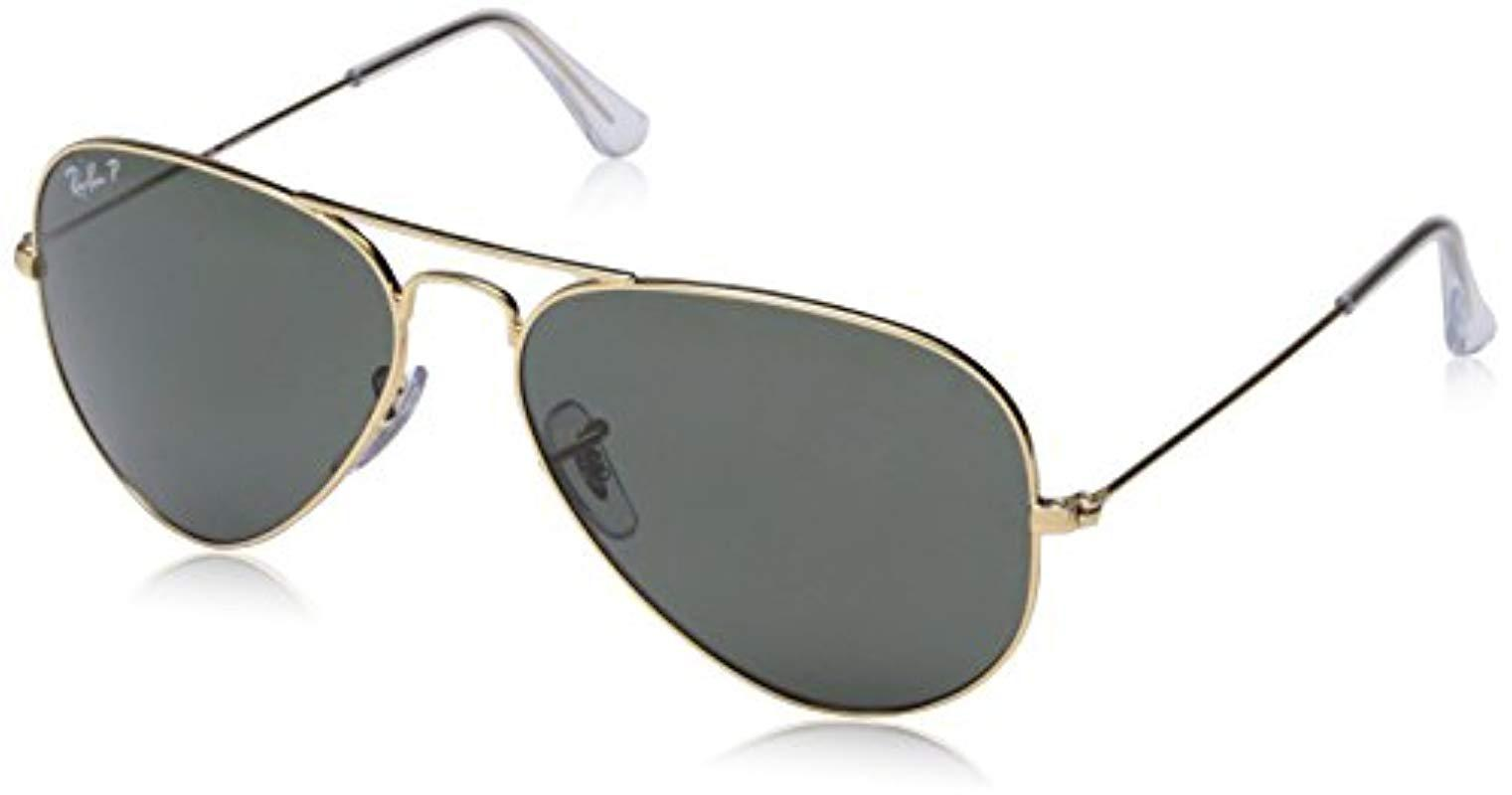 Ray-Ban. Women s Metallic Classic Aviator Sunglasses Arista Gold Crystal  Green Polarised ... 1af93ab9be