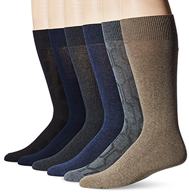 Lyst - Perry Ellis Portfolio Hexagon Rib 6 Pack Casual Dress Socks ... 5a376aa1f
