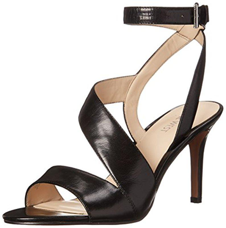 Nine West. Women's Black Ibby Leather Heeled Sandal