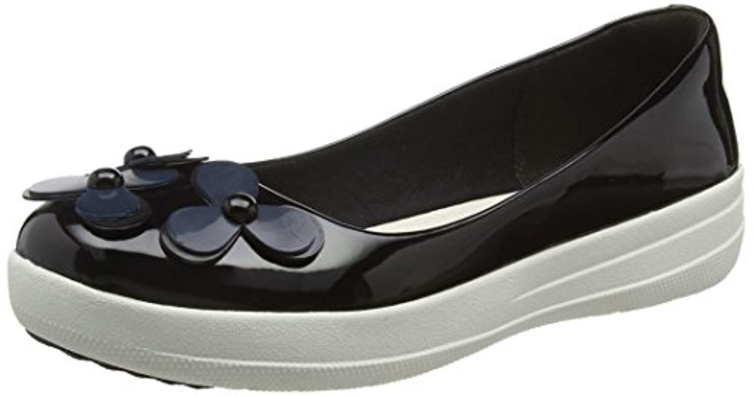 abe3caf97c5d64 Fitflop F-sporty Flower Ballerina Ballet Flats in Black - Lyst
