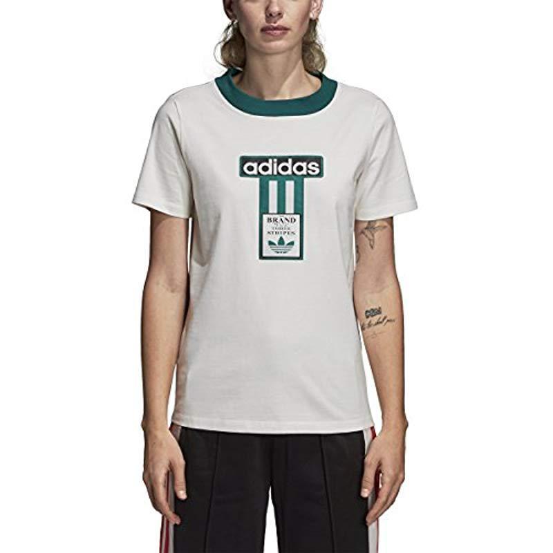 f2afc1be17f adidas Originals Adibreak Logo Tee in White - Lyst