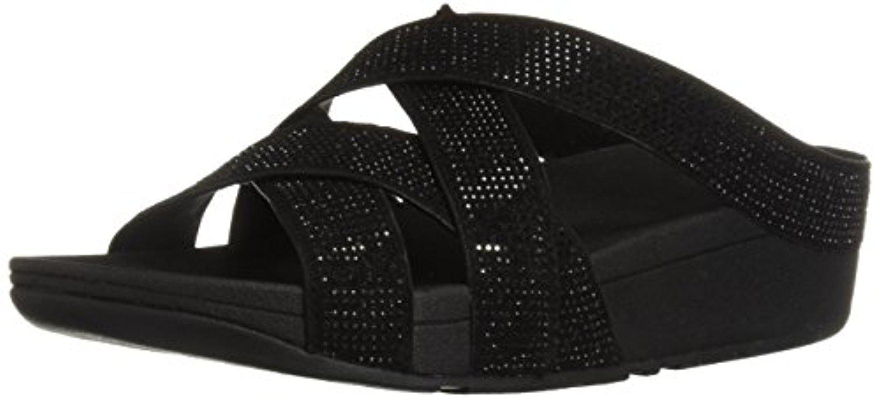 cdbc4459b0ca Lyst - Fitflop Slinky Rokkit Criss-cross Slide Sandal in Black