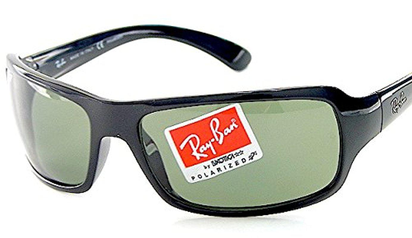 214d080a9d Lyst - Ray-Ban Rb4075 Polarized Rectangular Sunglasses in Black