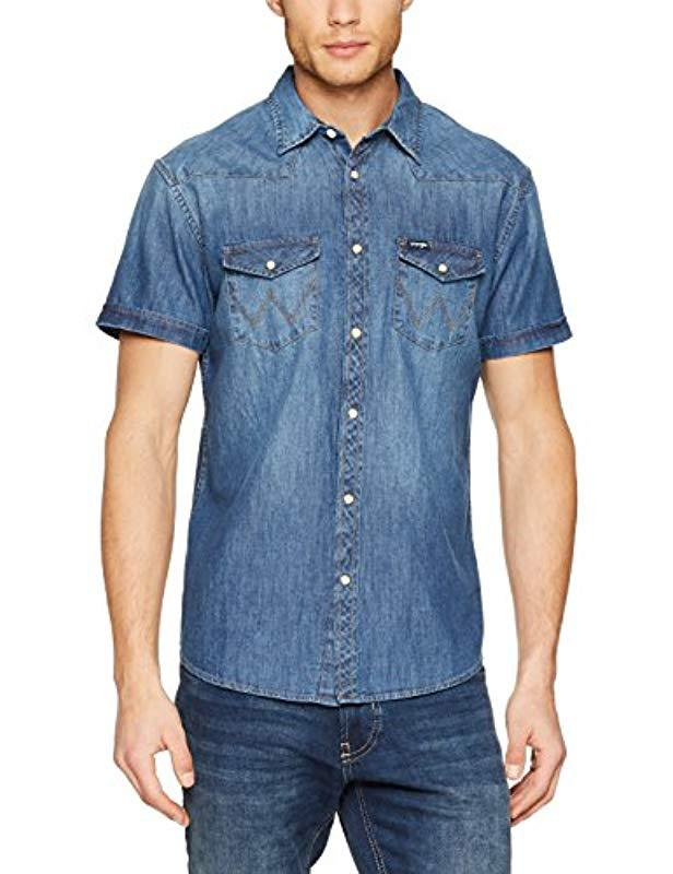 a287661481d Wrangler Ss Western Shirt Casual in Blue for Men - Lyst