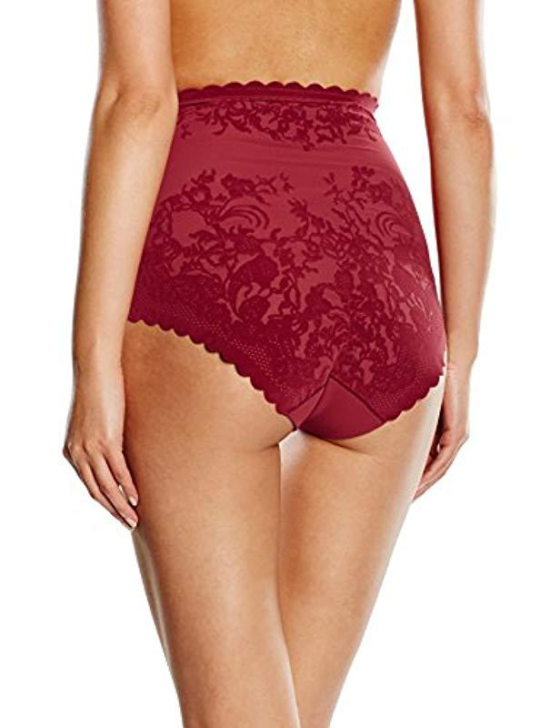 0e104a78fca0 Triumph Sheer Velvet Sensation Highwaist Panty Floral Shaping Control  Knickers in Red - Lyst